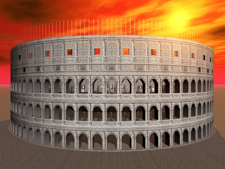historical monument: Colosseum in Rome in Italy