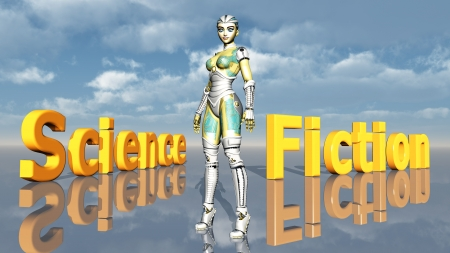 Female Robot with the words Science Fiction