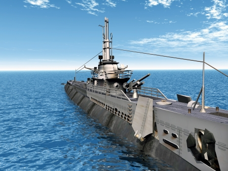 submarino: Submarino disparo USS Foto de archivo