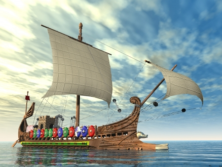 Ancient Roman Warship Stock Photo