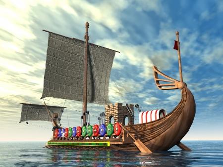 roma antigua: Antiguo buque de guerra romana Foto de archivo