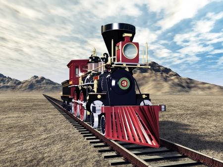 locomotora: Vieja locomotora a vapor americana
