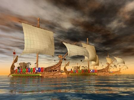 Oude Romeinse Oorlogsschepen Stockfoto