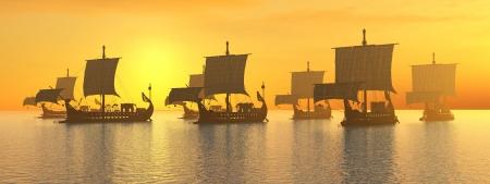 夕暮れ時の古代ローマの軍艦