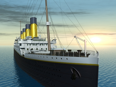 titanic: Ocean Liner at Sunset Stock Photo