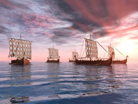 vikingo: Barcos Vikingos en el Sunset Foto de archivo