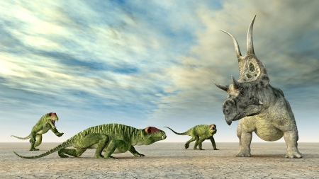 enormously: Doliosauriscus and Diabloceratops Stock Photo