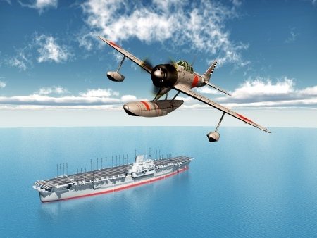 Japanese Fighter Bomber and Japanese Aircraft Carrier from the Second World War photo