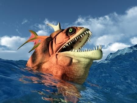 sea monster: Sea Monster in the stormy ocean