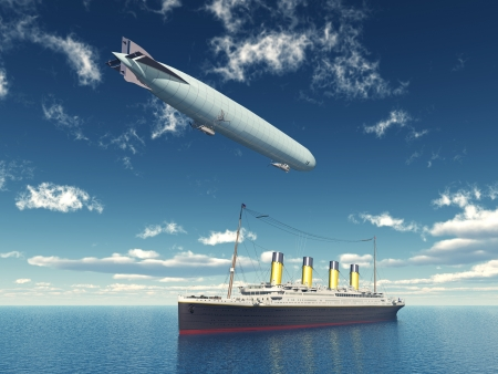 titanic: Ocean Liner and Airship Stock Photo
