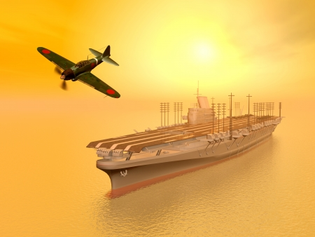 Japanese Fighter Bomber and Japanese Aircraft Carrier from the second world war