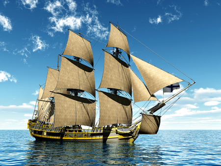18th: 18th Century Corvette ship Stock Photo