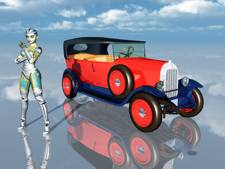 restored: Female Robot and French Automobile from the 1920s