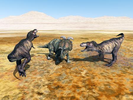 tiranosaurio rex: Tyrannosaurus Rex y Albertaceratops