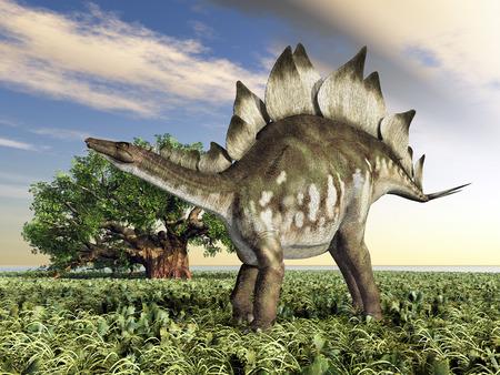 Dinosaurus Stegosaurus bij zonsondergang