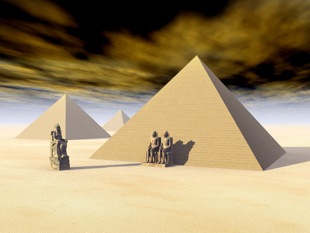 cult: Egyptian Pyramids and Statues