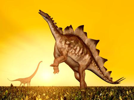 stegosaurus: El dinosaurios Stegosaurus y Mamenchisaurus al atardecer