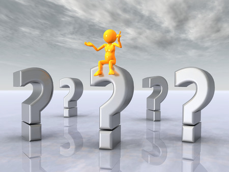 Question Marks with Thinker photo
