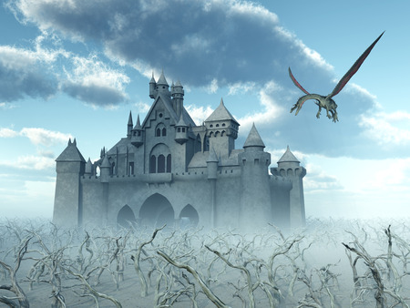 fantasy dragon: Castle and Flying Dragon Stock Photo
