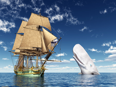 Sailing Ship and White Whale Stok Fotoğraf