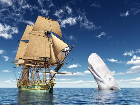 Sailing Ship and White Whale Standard-Bild
