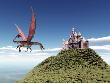 enormously: Castle and Flying Dragon Stock Photo