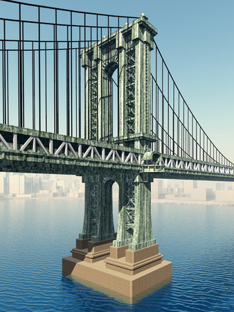 Manhattan Bridge in New York City Фото со стока