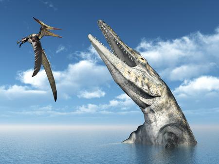 Pterosaur Pteranodon and Mosasaur Tylosaurus
