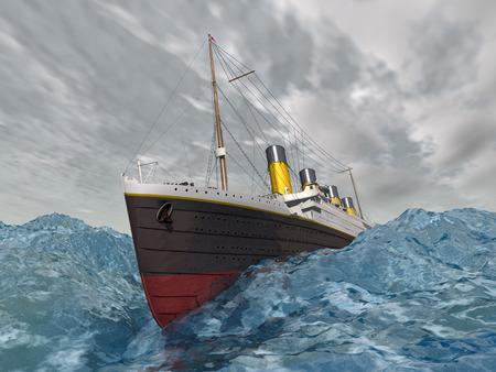 Lijnboot in de stormachtige oceaan Stockfoto