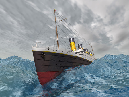 Ocean Liner in the stormy ocean Stock Photo