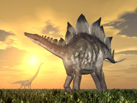 enormously: The Dinosaurs Stegosaurus and Mamenchisaurus at sunset Stock Photo