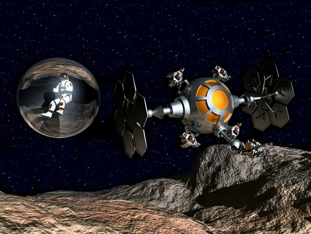 cosmology: Astronaut and Spaceship in a Distant World Stock Photo