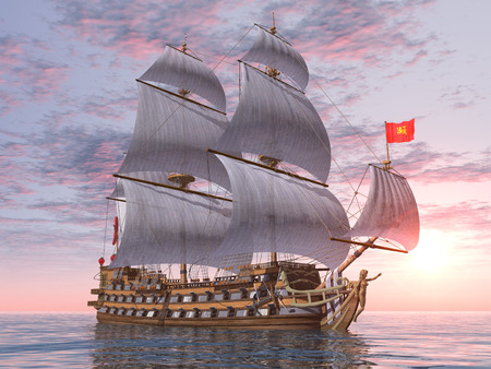 18th: French Warship of the 18th Century at sunset