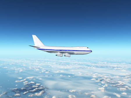3d airplane flying  Stock Photo