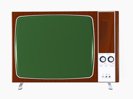 television antigua: TV vieja aislados en blanco Foto de archivo