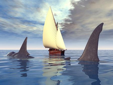 shark fin: The Megalodon Shark