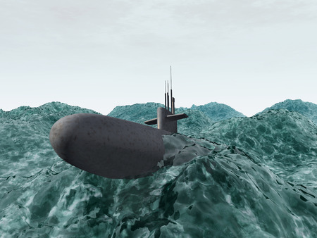 cold war: Submarine in the stormy ocean Stock Photo