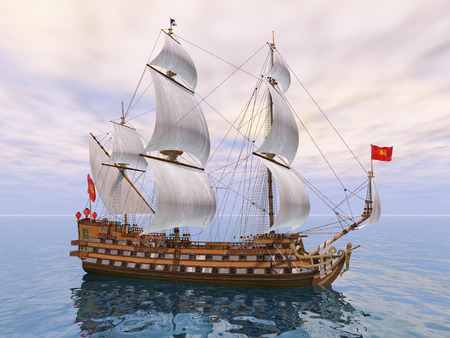 18th century: 3D French Warship of the 18th Century Stock Photo