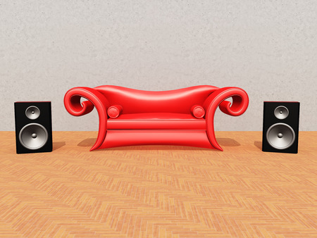 red couch: Red Couch and Speaker Boxes
