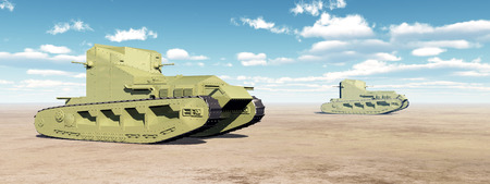 British Medium Tanks of World War I Stock Photo