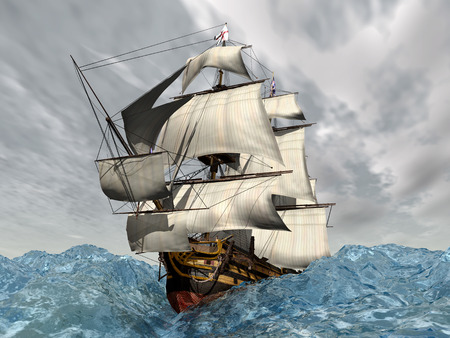 flagship: Big ship in the stormy ocean Stock Photo