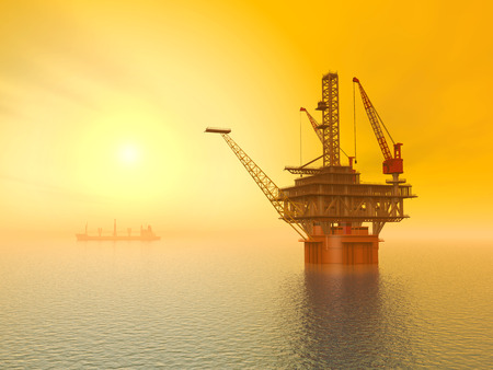 Oil Platform at Sunset