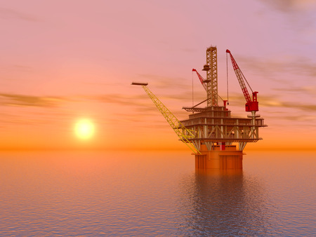 mineral oil: Oil Platform at Sunset