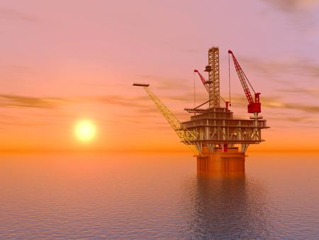 torre de perforacion petrolera: Plataforma petrolera en el Sunset Foto de archivo