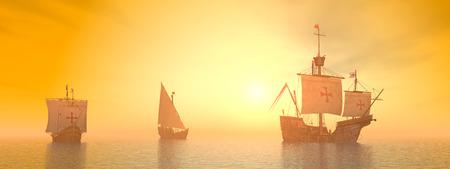 caravelle: 3D Santa Maria, Nia et Pinta de Christophe Colomb