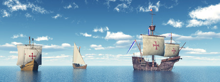 christopher columbus: Santa Maria, Niña and Pinta of Christopher Columbus Stock Photo