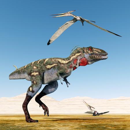 pterosaur: Dinosaur Nanotyrannus and Pterosaur Pteranodon