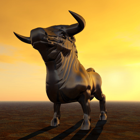 husbandry: Spanish Fighting Bull at Sunset