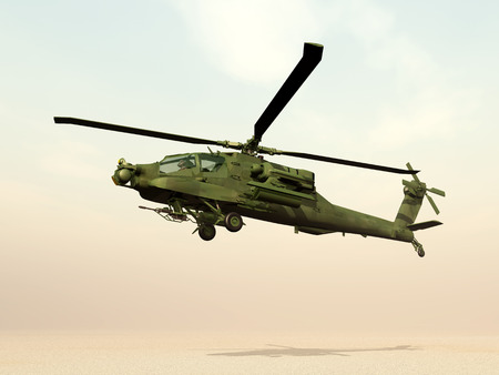military helicopter: 3D Apache Helicopter