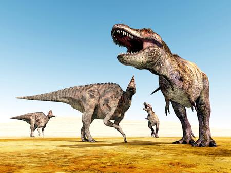 tiranosaurio rex: El Dinosaurs Corythosaurus y Tyrannosaurus Rex Foto de archivo